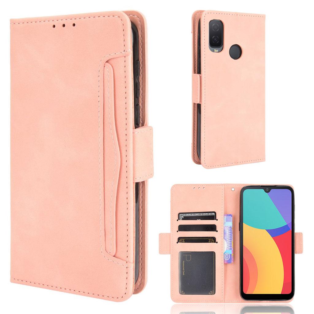 Bilde av Modern-styled Leather Wallet Case For Alcatel 1l (2021) - Pink