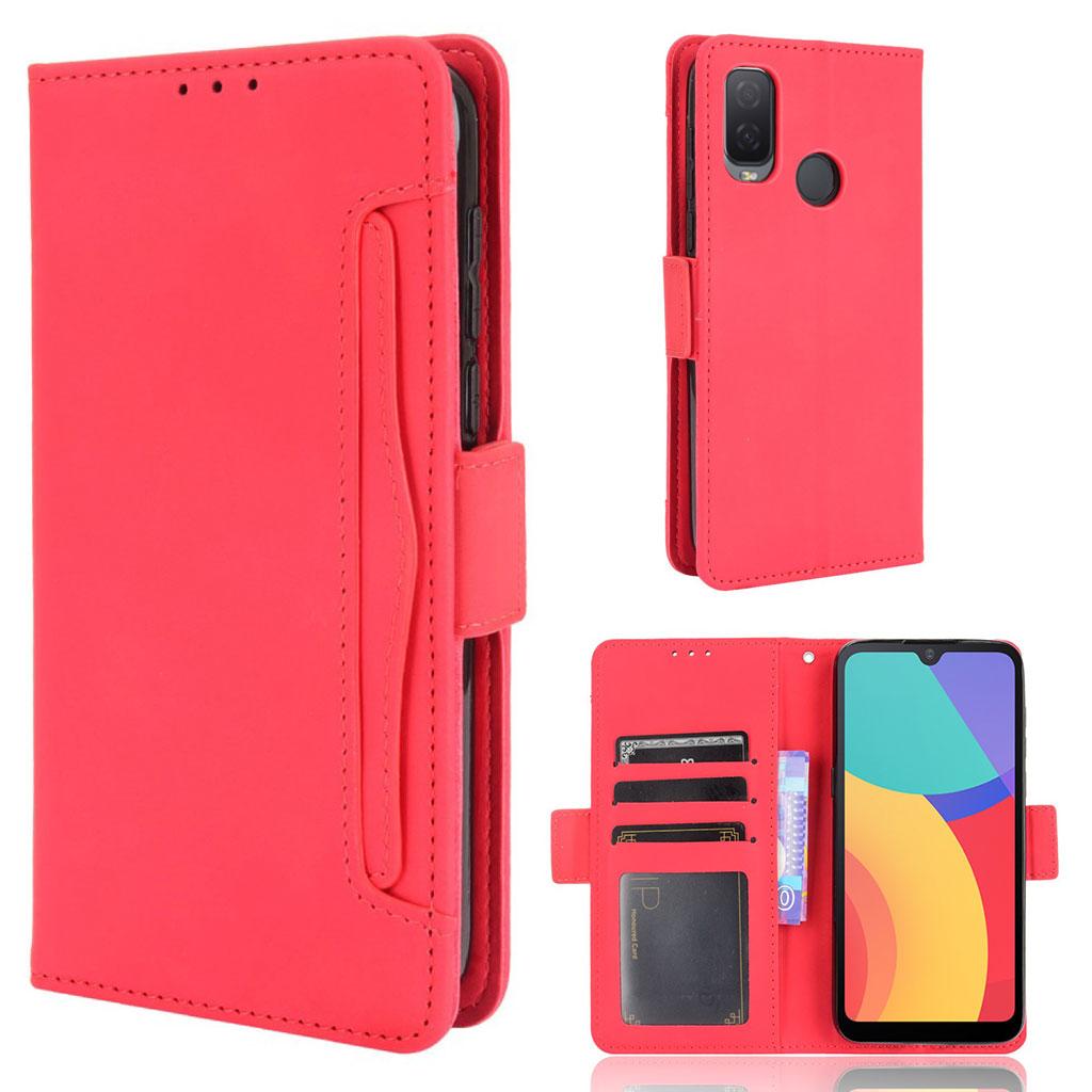 Bilde av Modern-styled Leather Wallet Case For Alcatel 1l (2021) - Red