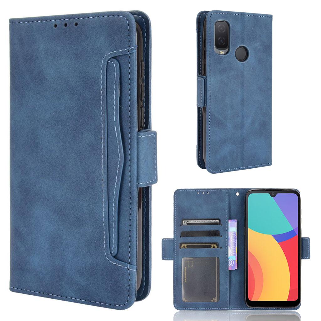Bilde av Modern-styled Leather Wallet Case For Alcatel 1l (2021) - Blue