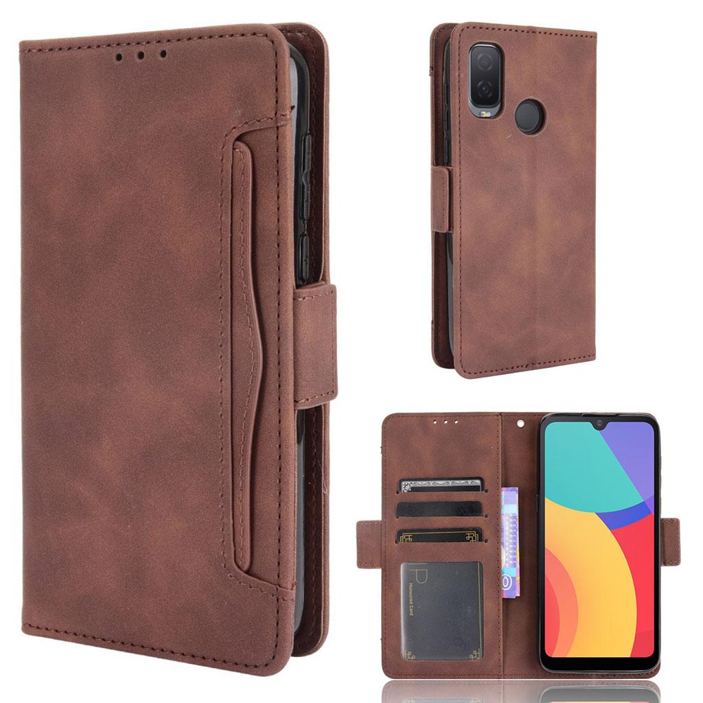 Bilde av Modern-styled Leather Wallet Case For Alcatel 1l (2021) - Brown