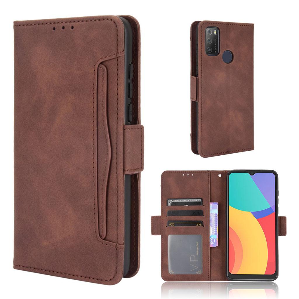 Bilde av Modern-styled Leather Wallet Case For Alcatel 3l (2021) / 1s (2021) - Brown