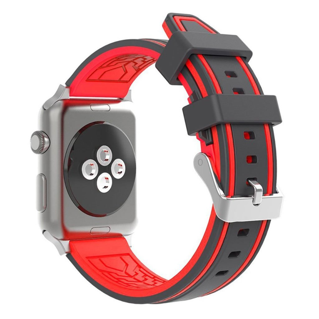 Bilde av Apple Watch 42mm Dual Color Silicone Watch Band - Black / Red