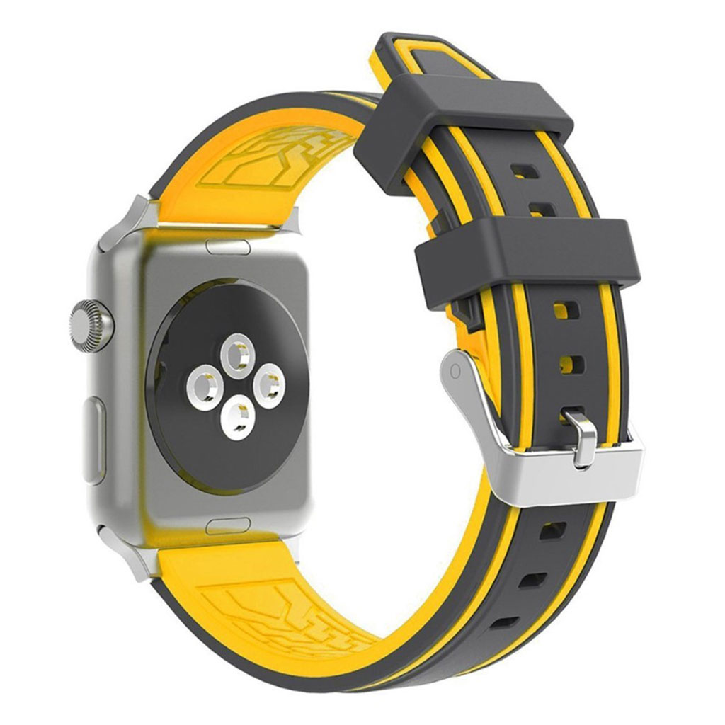 Bilde av Apple Watch 42mm Dual Color Silicone Watch Band - Black / Yellow
