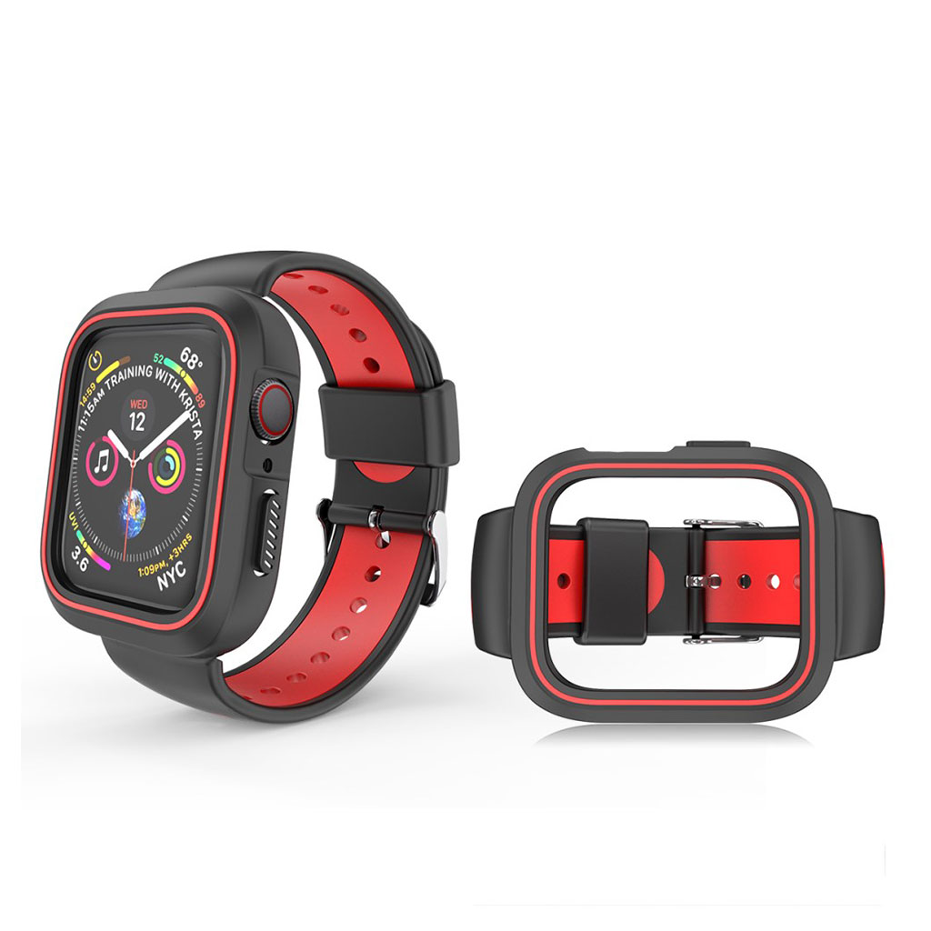 Bilde av Apple Watch 42mm Two-tone Silicone Watch Band - Black / Red
