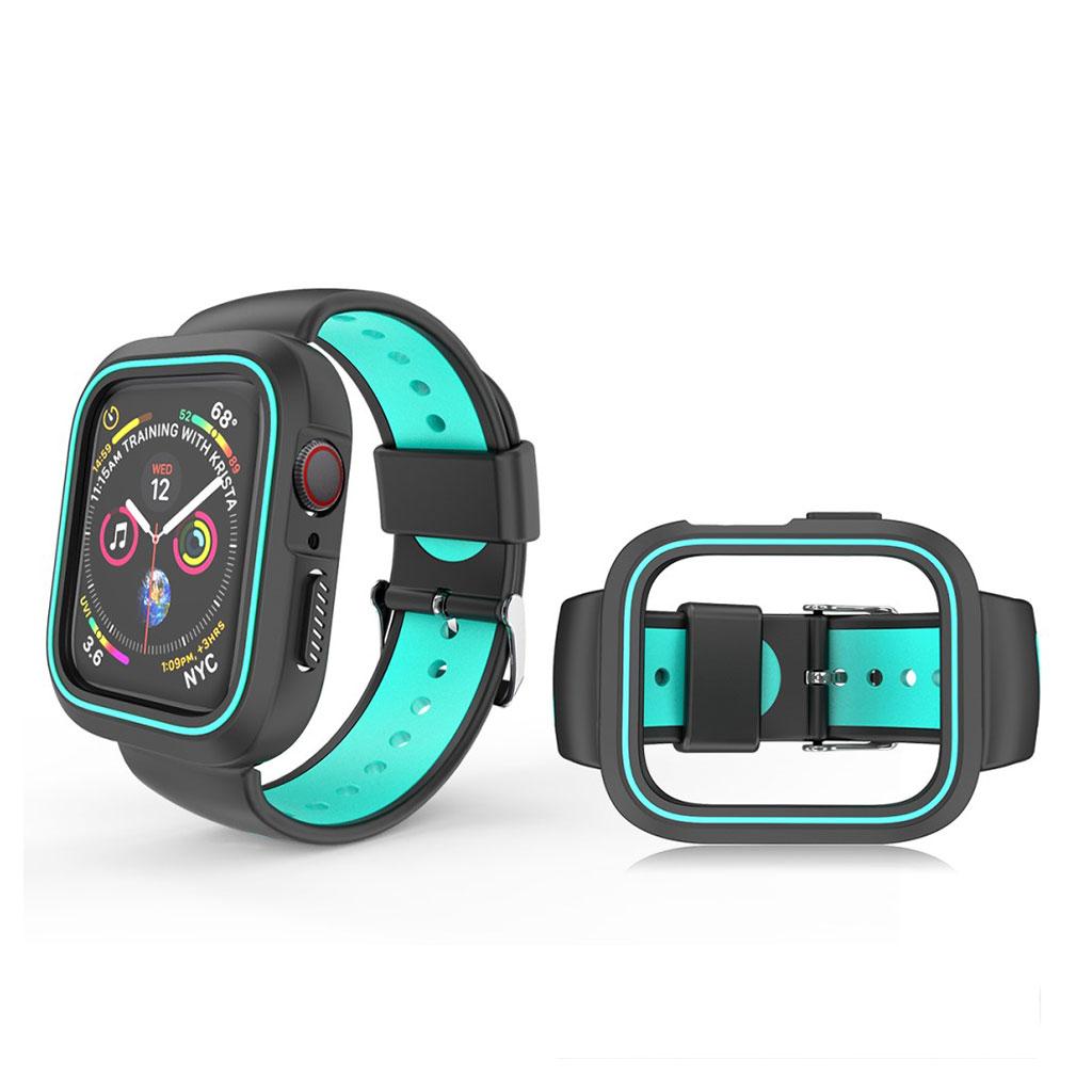 Bilde av Apple Watch 38mm Bi-color Silicone Frame And Watch Band - Black / Cyan