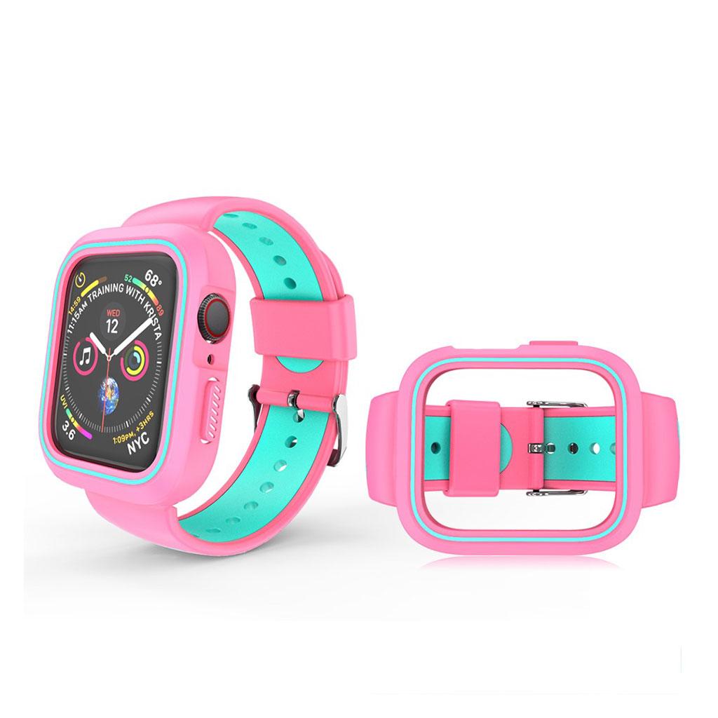 Bilde av Apple Watch 38mm Bi-color Silicone Frame And Watch Band - Pink / Cyan
