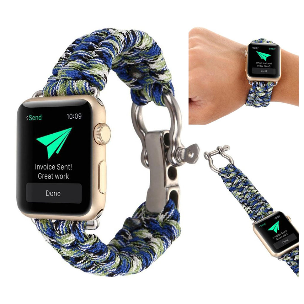 Bilde av Apple Watch Series 4 40mm Braided Rope Watch Strap - Blue / Green