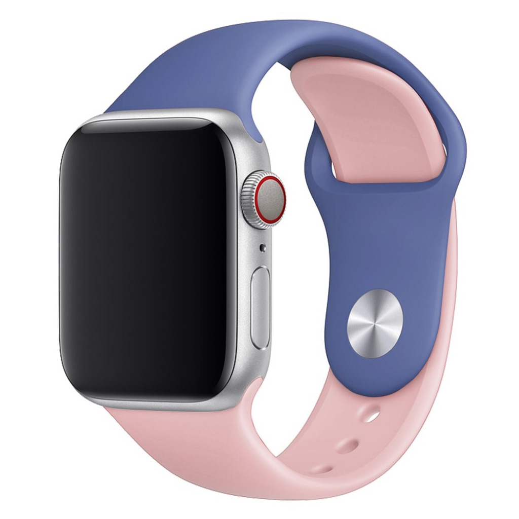 Bilde av Apple Watch Series 4 40mm Contrast Colors Silicone Watch Band - Baby Blue / Pink