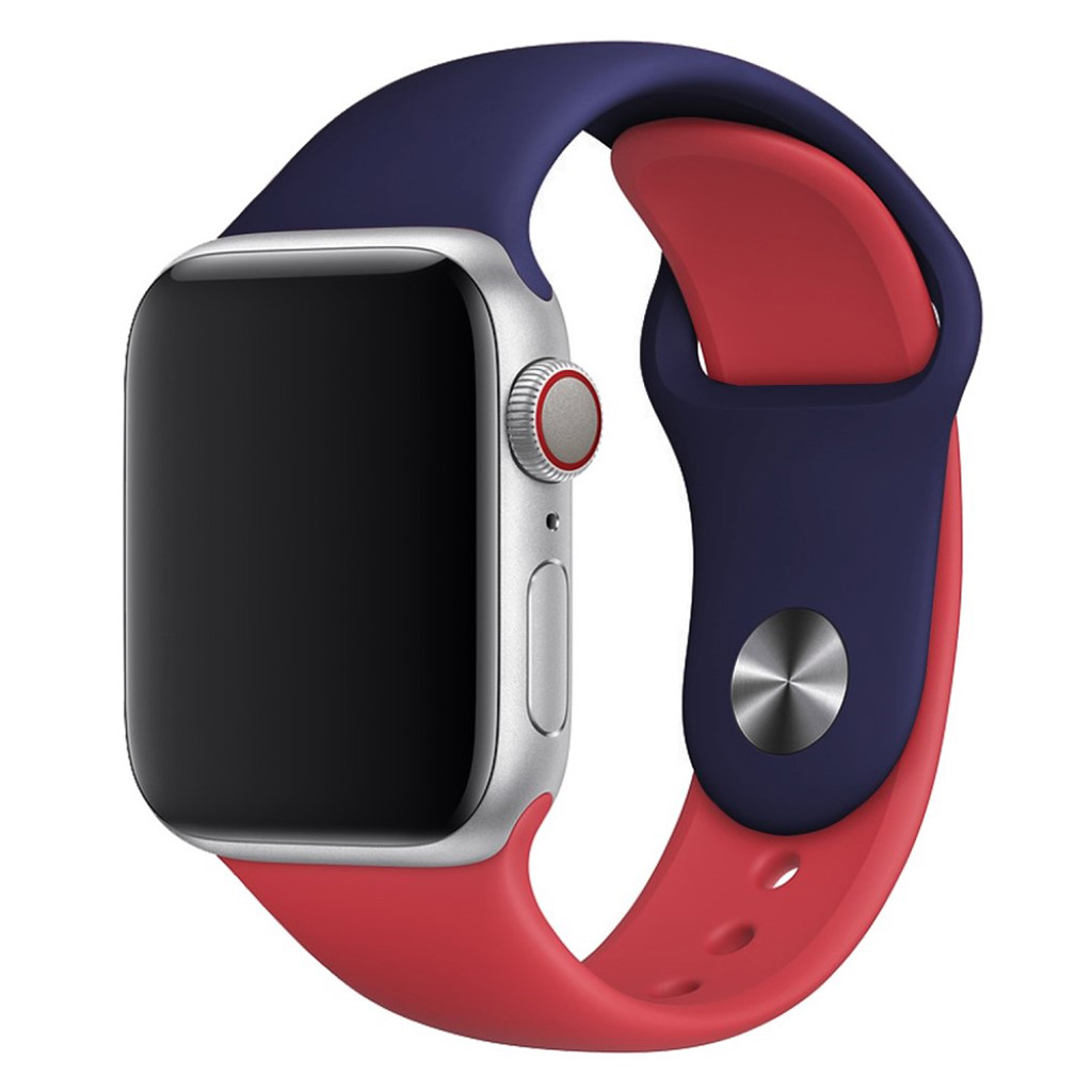 Bilde av Apple Watch Series 4 40mm Contrast Colors Silicone Watch Band - Dark Blue / Red