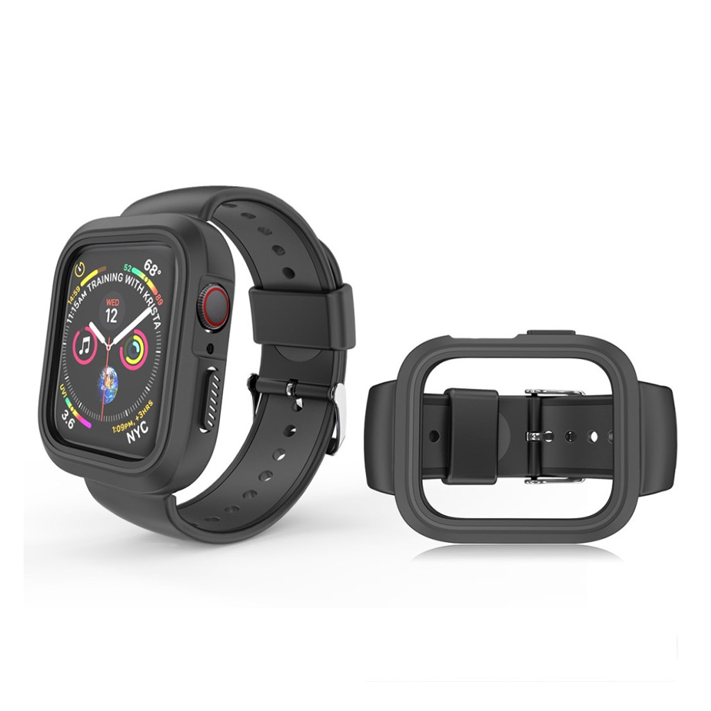 Bilde av Apple Watch Series 4 40mm Bi-farge Silikon Klokkereim - All Svart