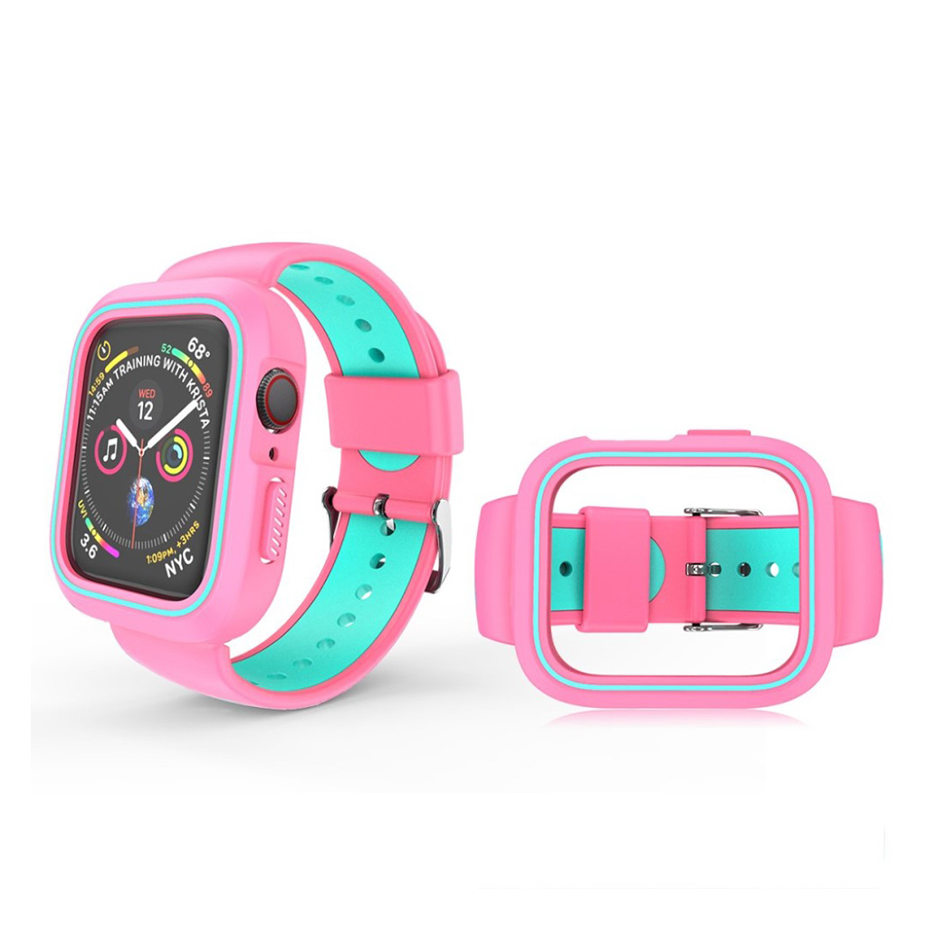 Bilde av Apple Watch Series 4 40mm Bi-farge Silikon Klokkereim - Rosa / Cyan