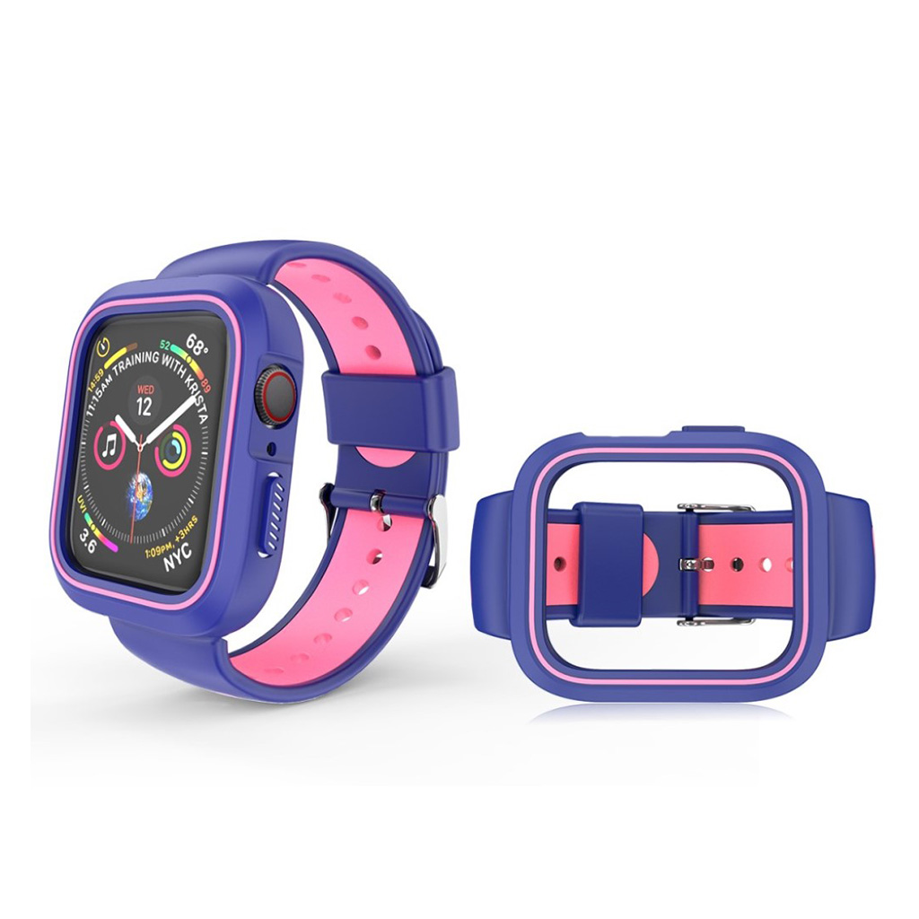 Bilde av Apple Watch Series 4 40mm Bi-farge Silikon Klokkereim - Blå / Rosa