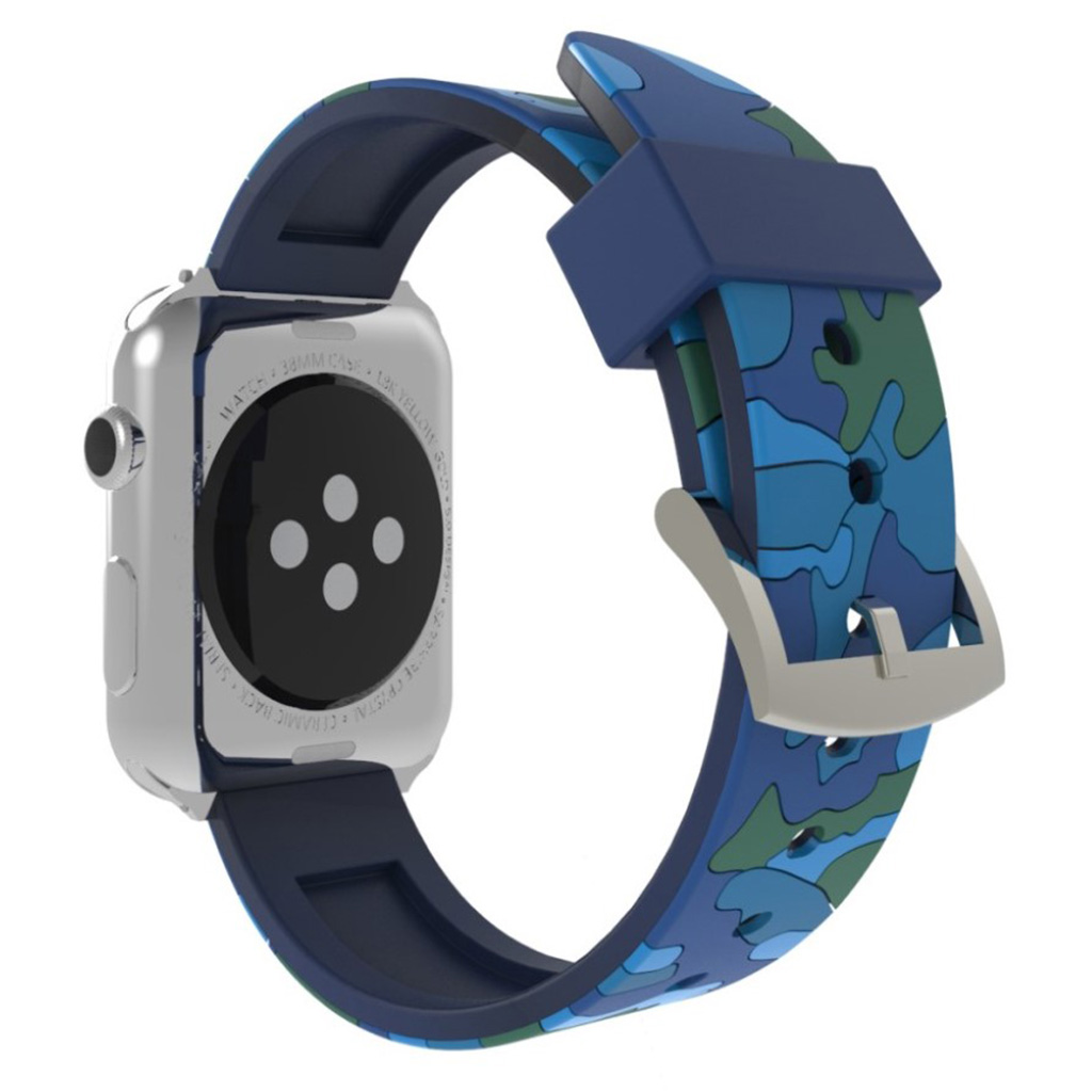 Bilde av Apple Watch Series 4 44mm Camouflage Silicone Watch Band - Blue
