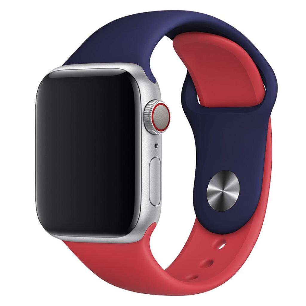 Bilde av Apple Watch Series 4 44mm Contrast Colors Silicone Watch Band - Dark Blue / Red