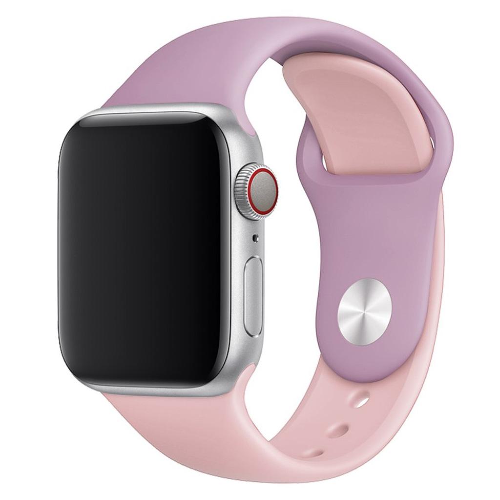 Bilde av Apple Watch Series 4 44mm Contrast Colors Silicone Watch Band - Purple / Pink