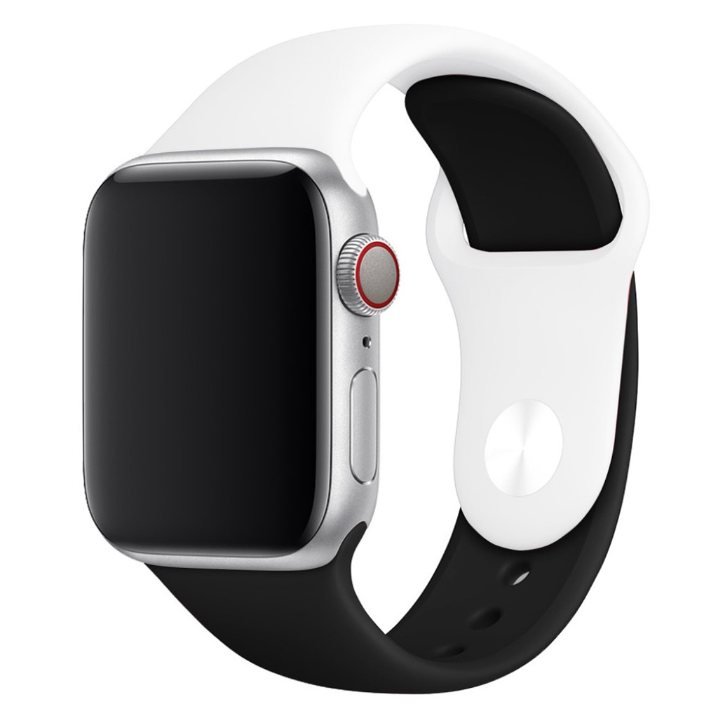 Bilde av Apple Watch Series 4 44mm Contrast Colors Silicone Watch Band - White / Black