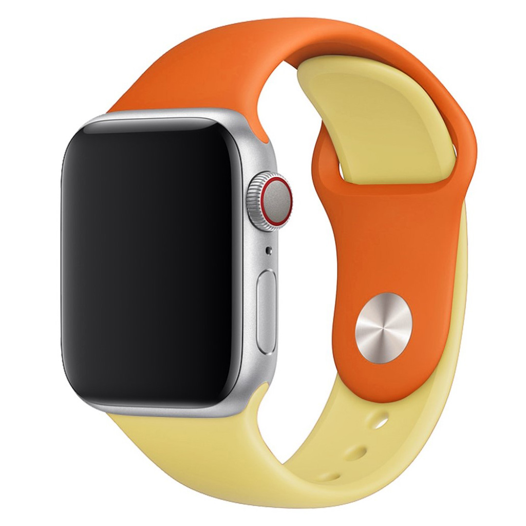Bilde av Apple Watch Series 4 44mm Contrast Colors Silicone Watch Band - Orange / Yellow