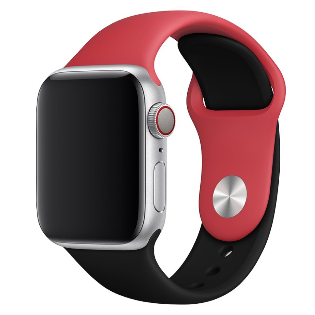Bilde av Apple Watch Series 4 44mm Contrast Colors Silicone Watch Band - Red / Black