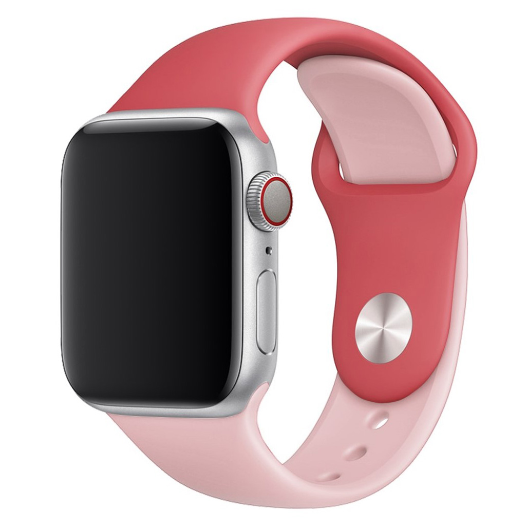 Bilde av Apple Watch Series 4 44mm Contrast Colors Silicone Watch Band - Rose / Pink