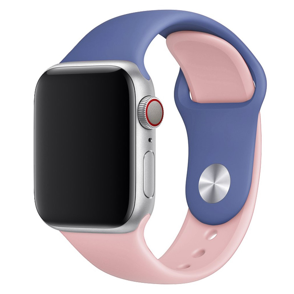Bilde av Apple Watch Series 4 44mm Contrast Colors Silicone Watch Band - Baby Blue / Pink