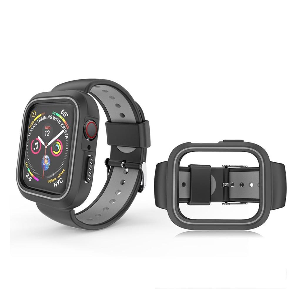 Bilde av Apple Watch Series 4 44mm Bi-color Silicone Watch Band - Black / Grey