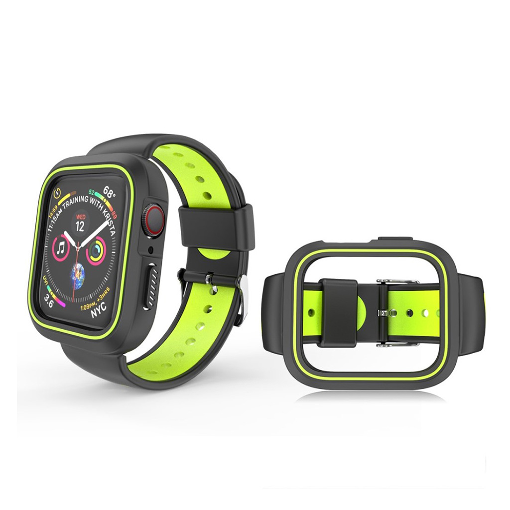 Bilde av Apple Watch Series 4 44mm Bi-color Silicone Watch Band - Black / Yellow