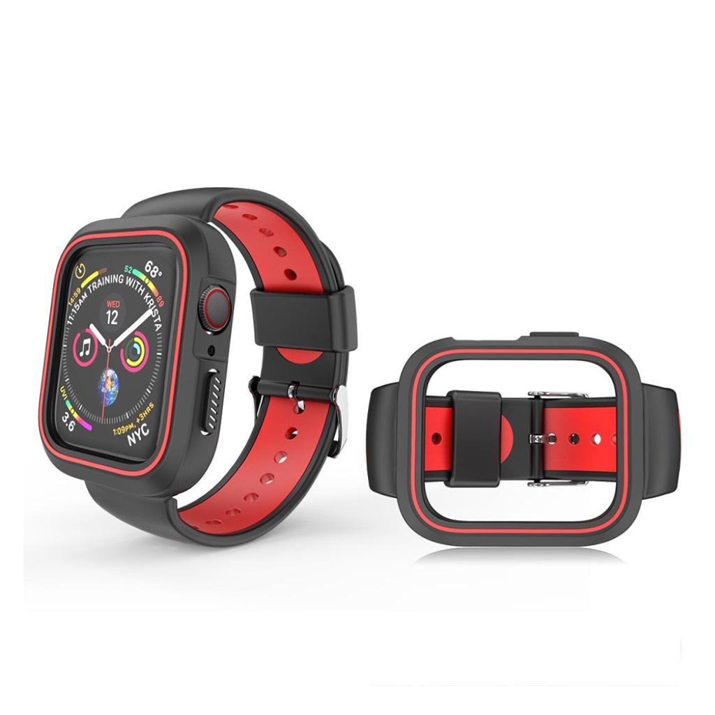Bilde av Apple Watch Series 4 44mm Bi-color Silicone Watch Band - Black / Red