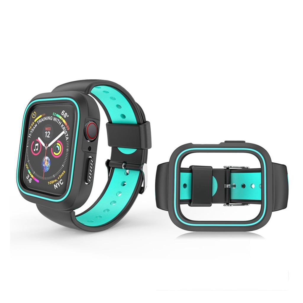 Bilde av Apple Watch Series 4 44mm Bi-color Silicone Watch Band - Black / Cyan