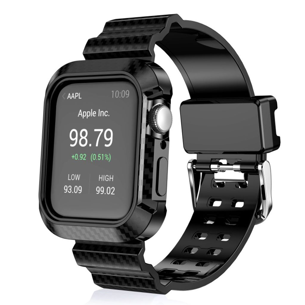 Bilde av Apple Watch Series 4 44mm Carbon Fiber Silicone Watch Band - Black