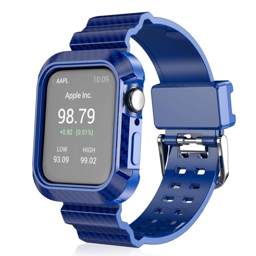 Bilde av Apple Watch Series 4 44mm Carbon Fiber Silicone Watch Band - Blue