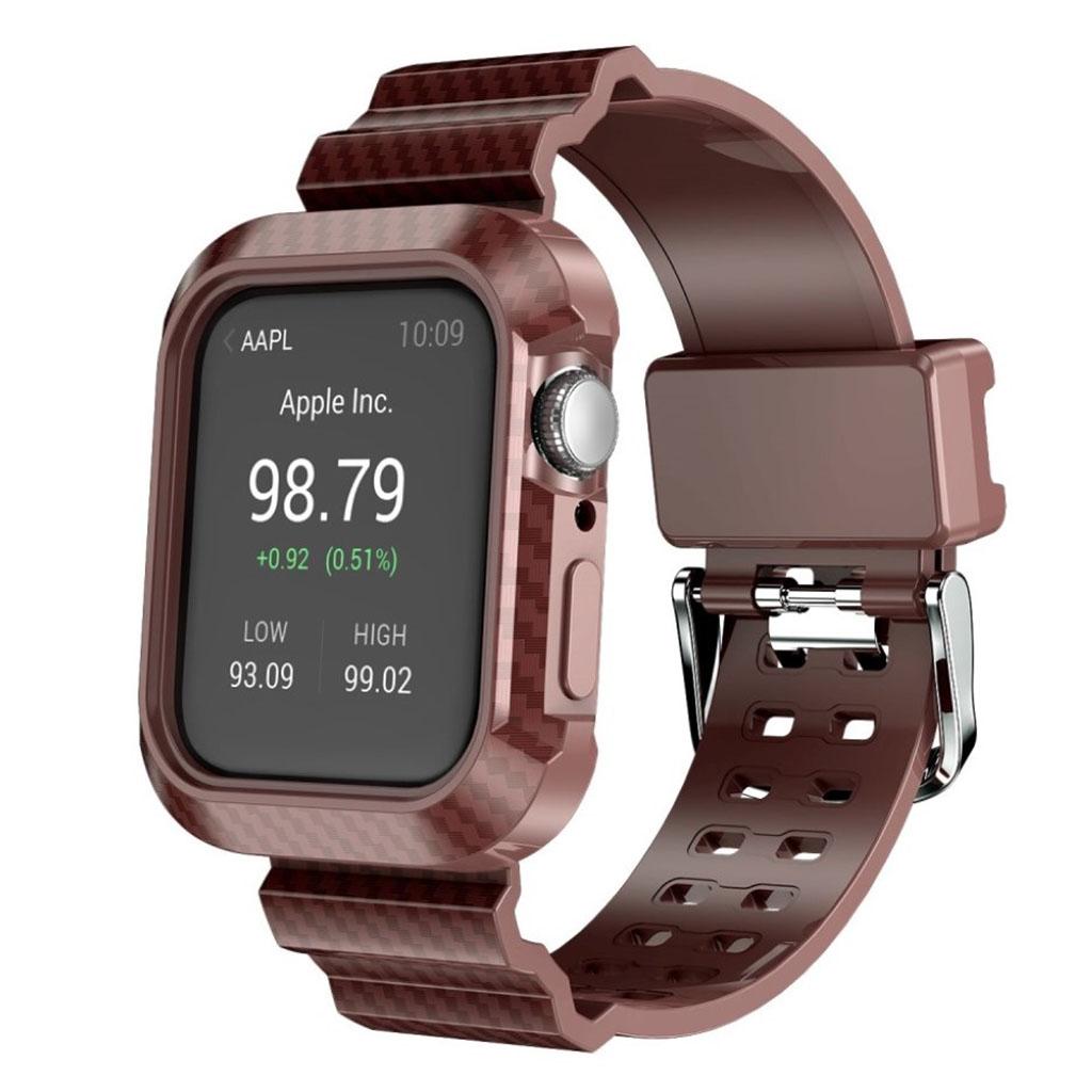 Bilde av Apple Watch Series 4 44mm Carbon Fiber Silicone Watch Band - Brown