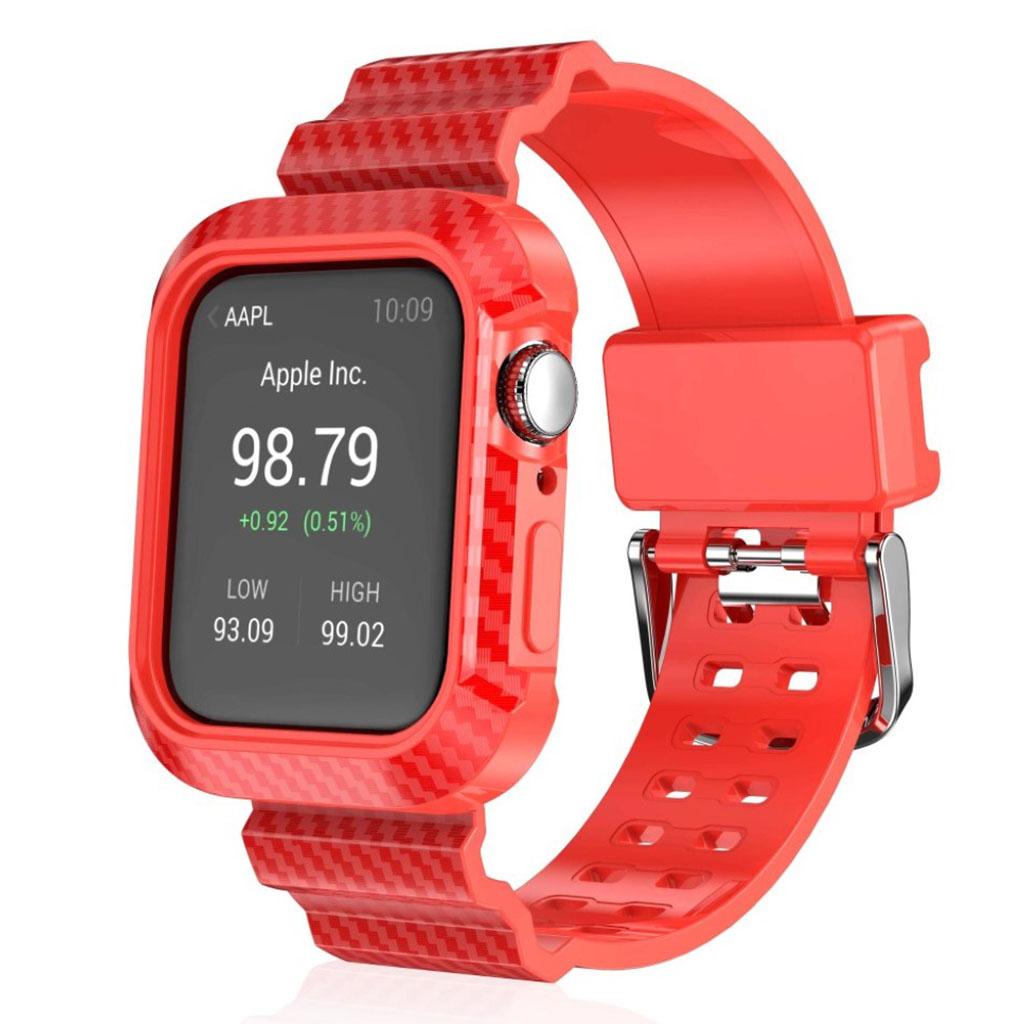 Bilde av Apple Watch Series 4 44mm Carbon Fiber Silicone Watch Band - Red