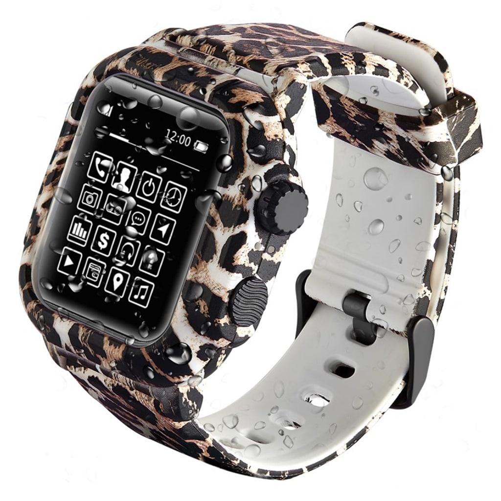 Bilde av Apple Watch Series 4 44mm Armor Silicone Watch Band - Leopard