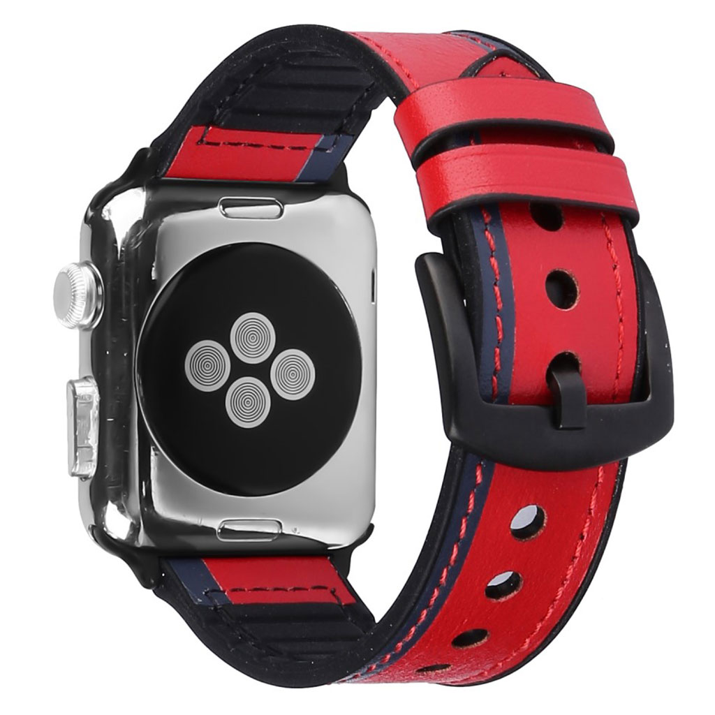 Bilde av Apple Watch Series 5 40mm Genuine Leather Silicone Watch Band - Red