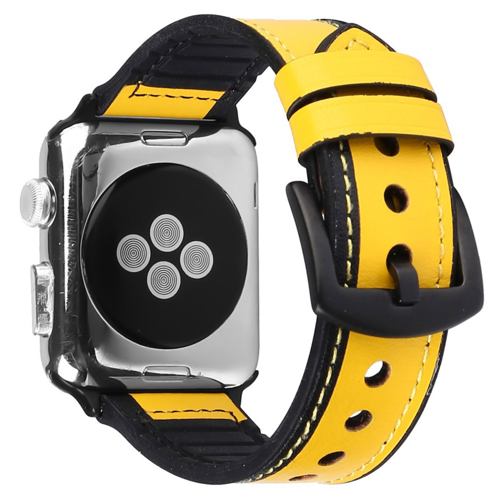 Bilde av Apple Watch Series 5 40mm Genuine Leather Silicone Watch Band - Yellow