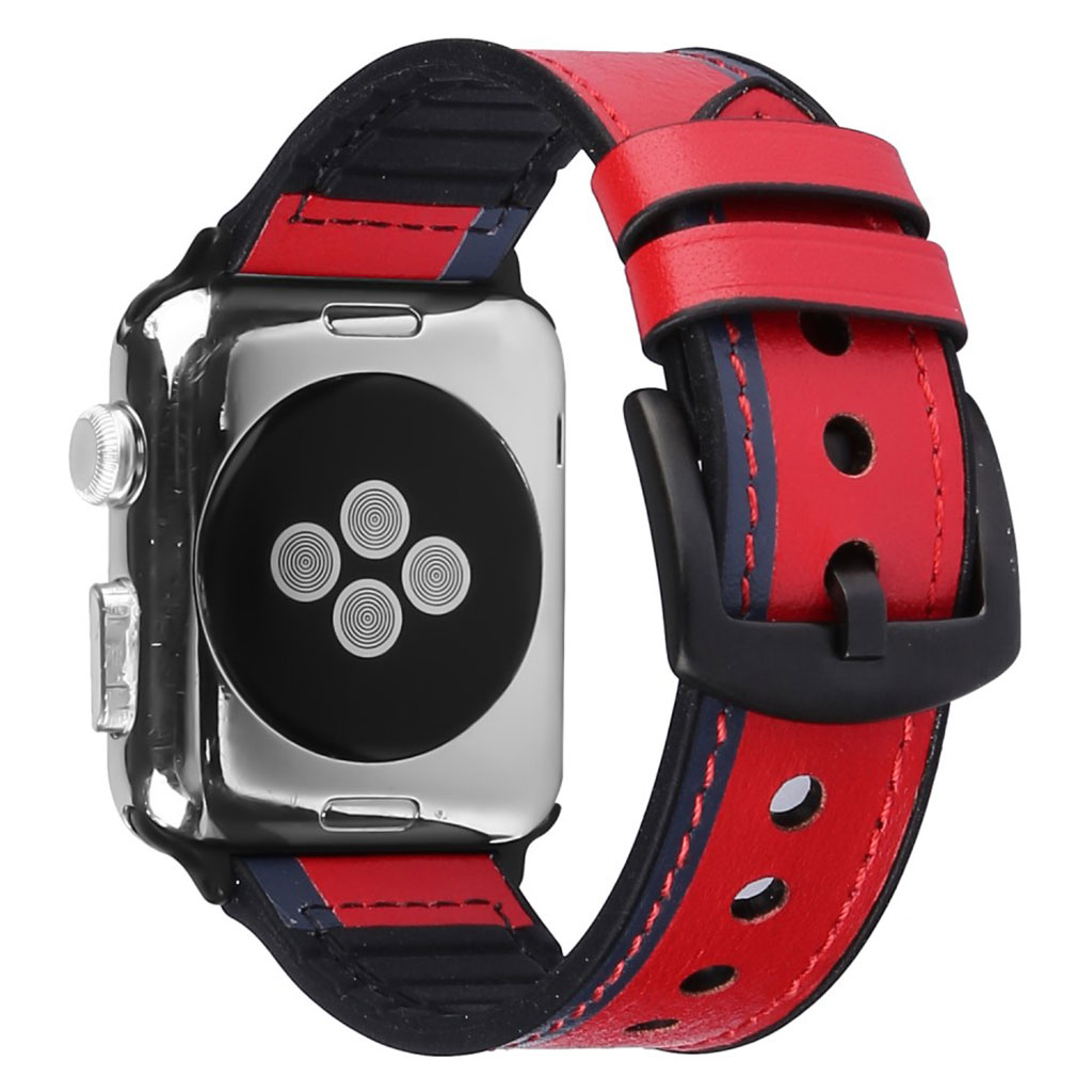 Bilde av Apple Watch Series 5 44mm Genuine Leather Silicone Watch Band - Red