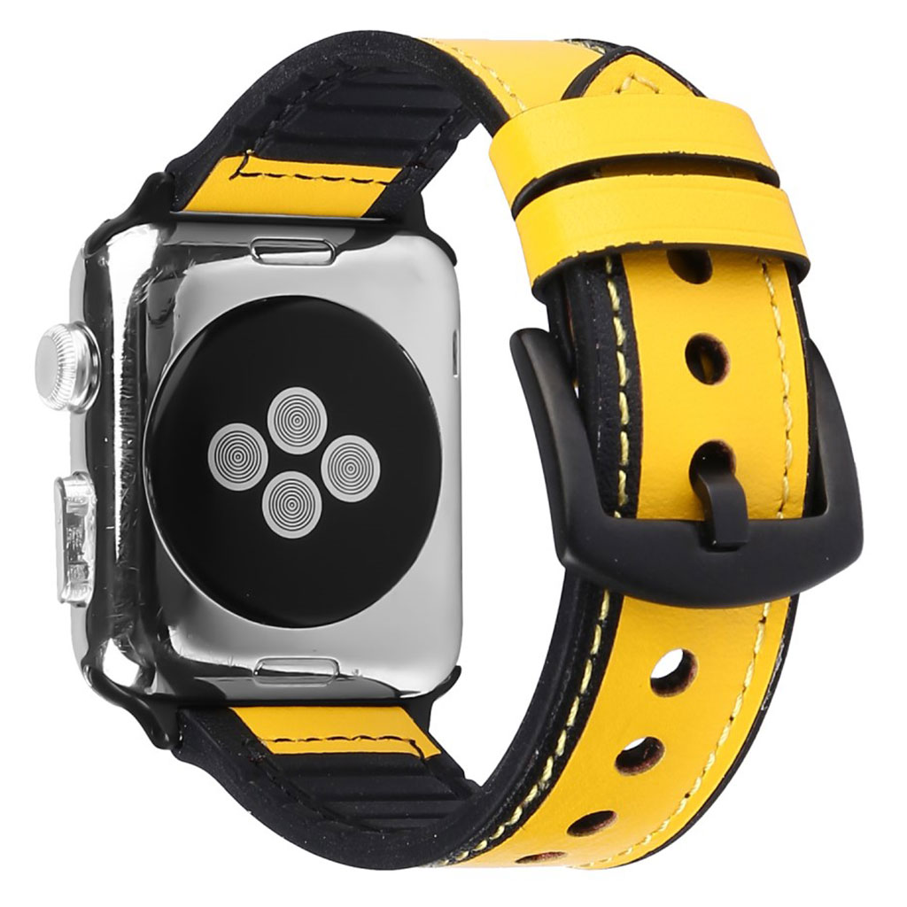 Bilde av Apple Watch Series 5 44mm Genuine Leather Silicone Watch Band - Yellow